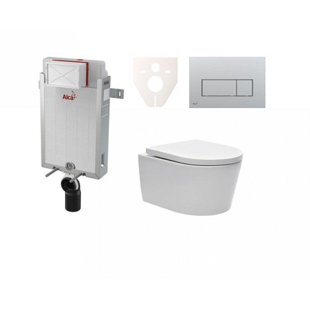 Závěsný set WC SAT Brevis, nádržka Alcaplast Renovmodul, tlačítko CR mat SIKOAW9