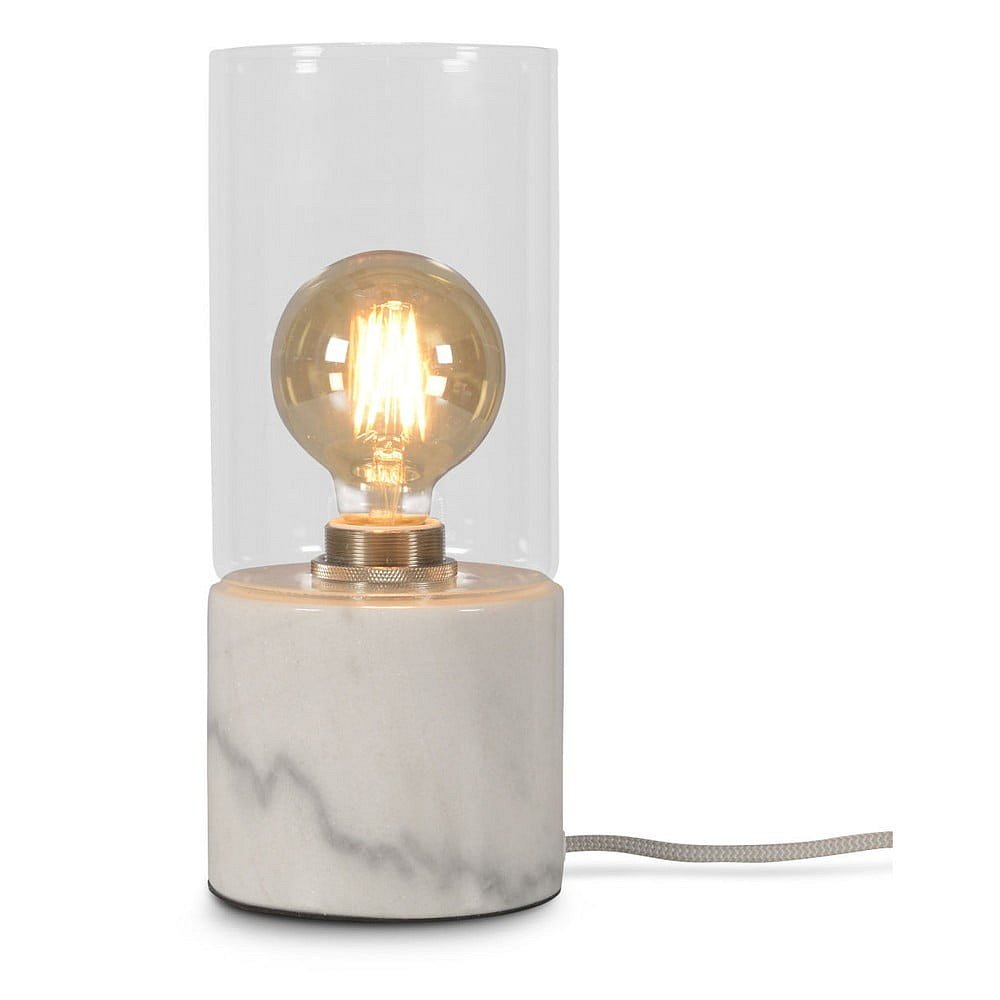 Bílá mramorová stolní lampa Citylights Athens, výška25cm