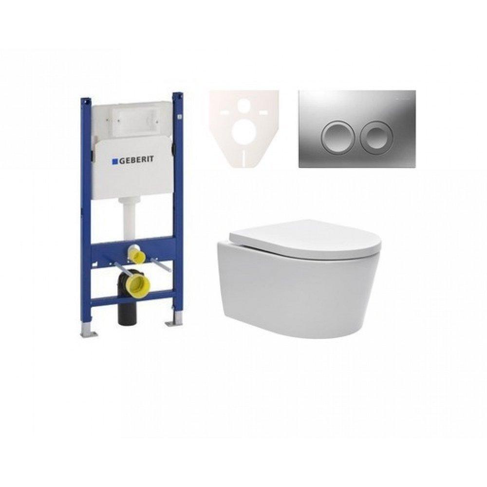 Závěsný set WC SAT Brevis, nádržka Geberit Duofix, tlačítko CR mat SIKOGES7W3