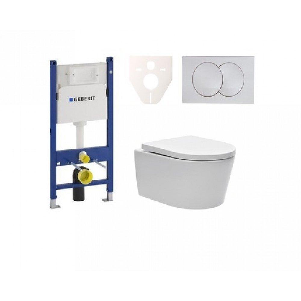 Závěsný set WC SAT Brevis, nádržka Geberit Duofix, tlačítko bílé SIKOGES7W7