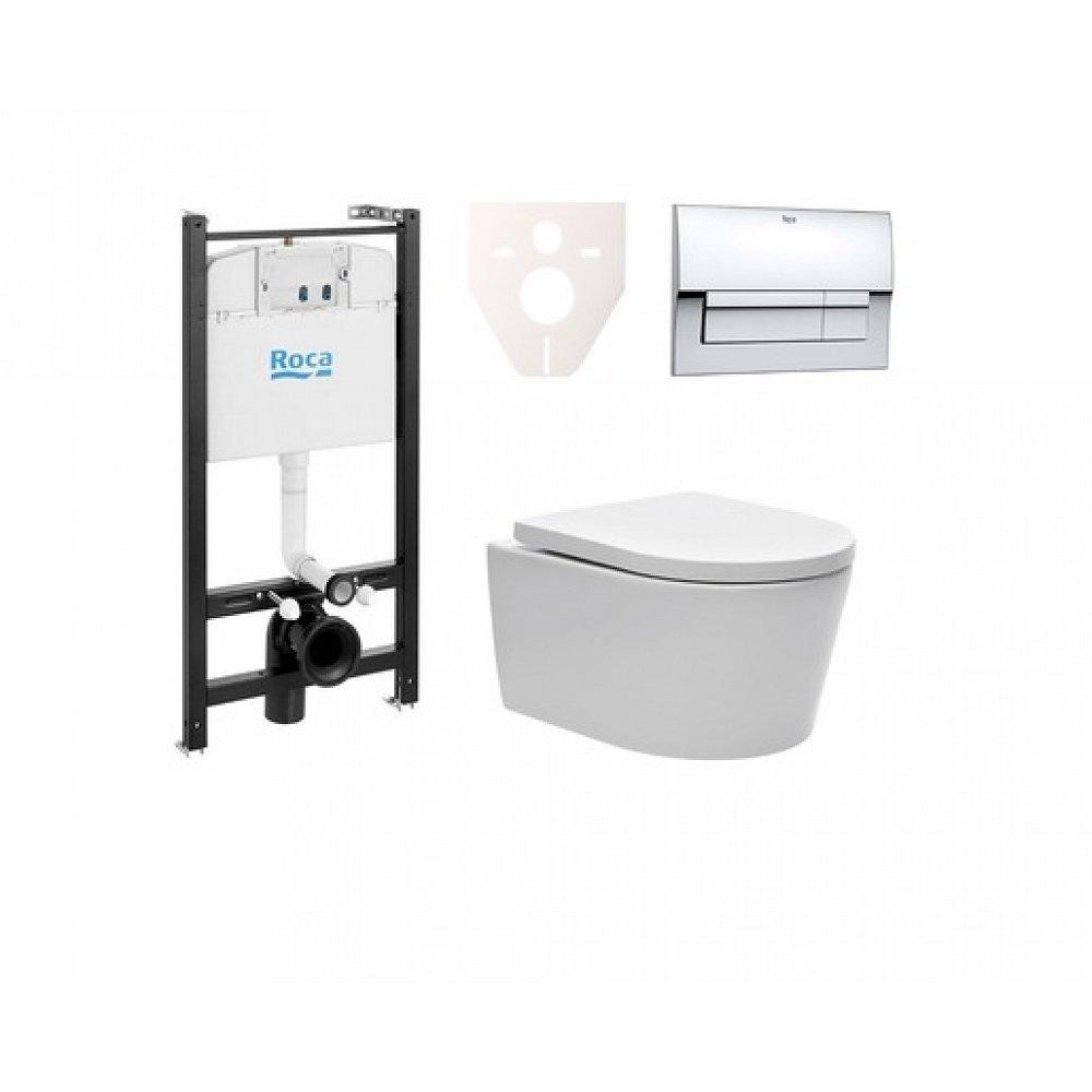 Závěsný set WC SAT Brevis, nádržka ROCA, tlačítko CR lesk SIKORW5