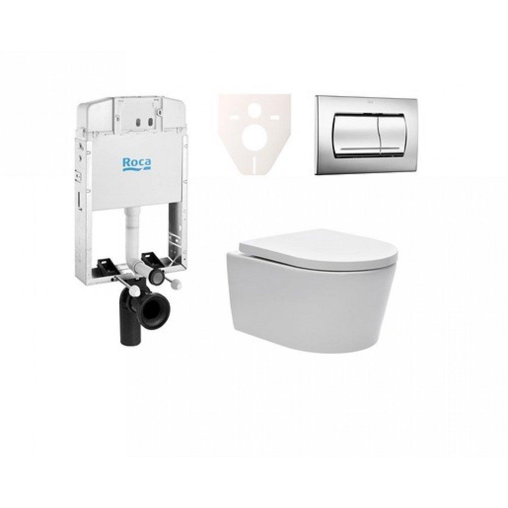 Závěsný set WC SAT Brevis, nádržka ROCA, tlačítko CR lesk SIKORSW2
