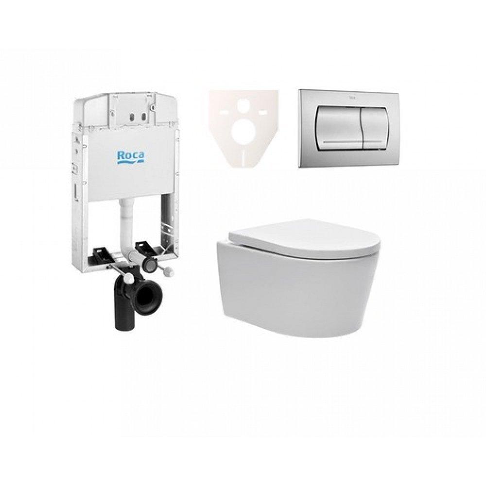 Závěsný set WC SAT Brevis, nádržka ROCA, tlačítko CR mat SIKORSW3