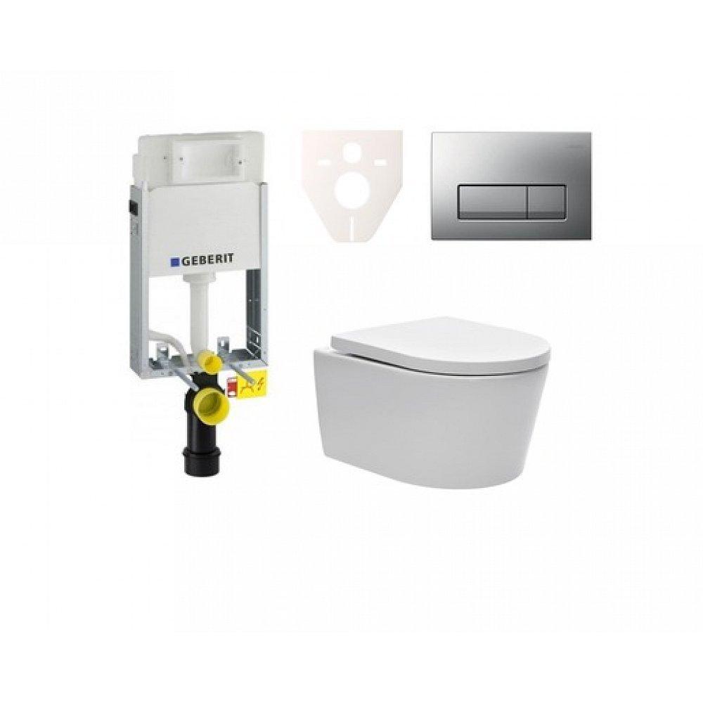 Závěsný set WC SAT Brevis, nádržka Geberit Kombifix, tlačítko CR mat SIKOGE1W8
