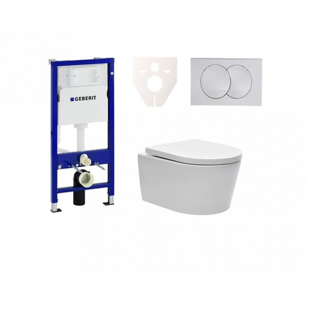 Závěsný set WC SAT Brevis, nádržka Geberit Kombifix, tlačítko bílé SIKOGES6W7