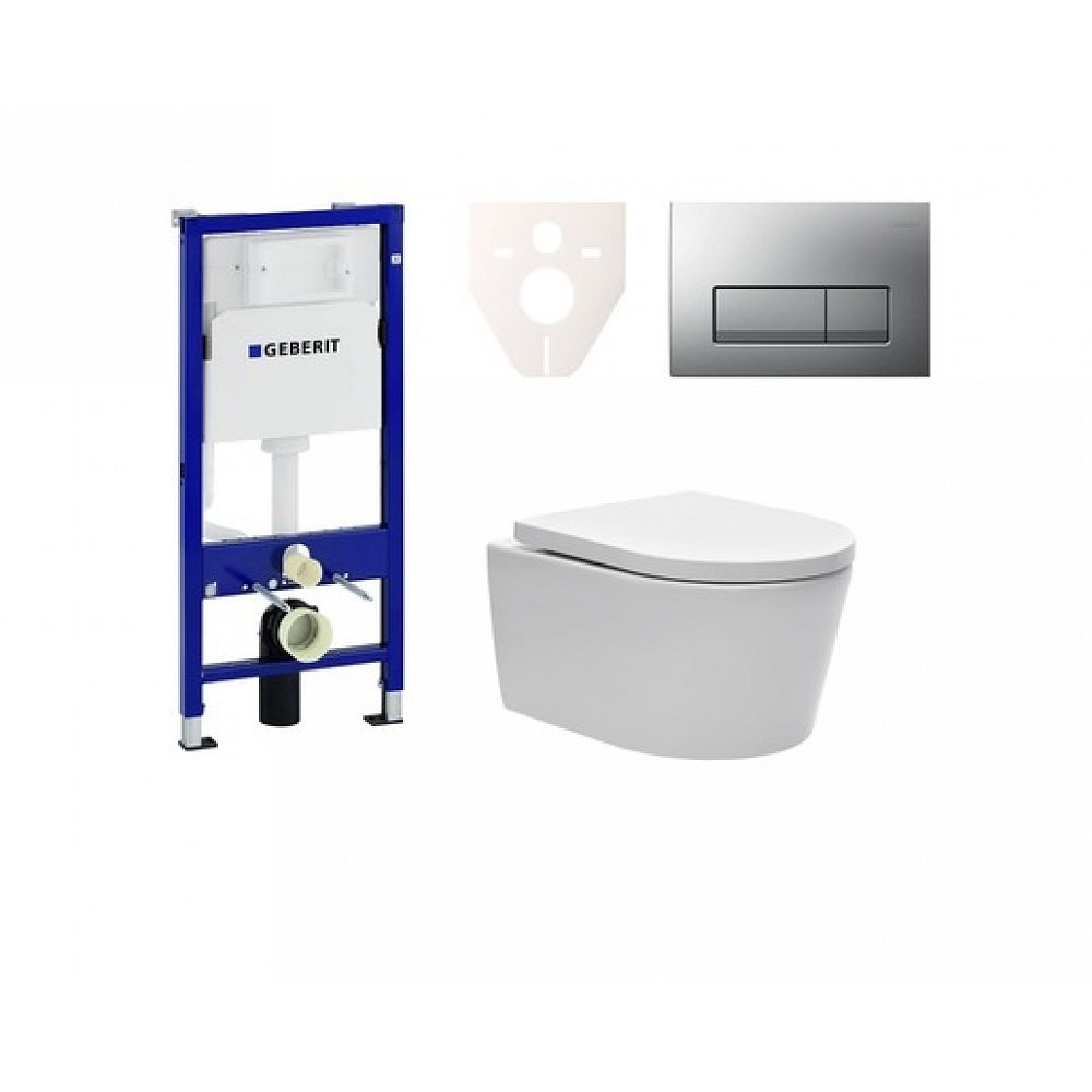 Závěsný set WC SAT Brevis, nádržka Geberit Kombifix, tlačítko CR mat SIKOGES6W8