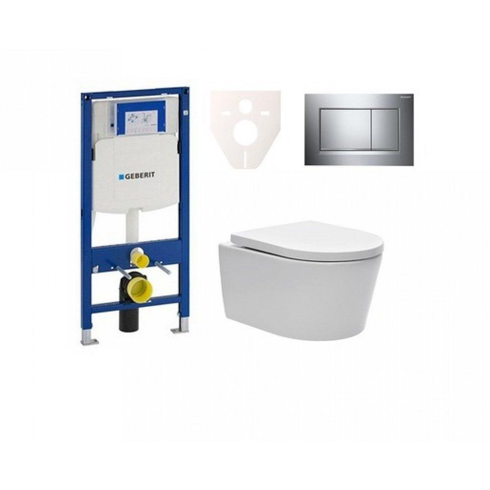 Závěsný set WC SAT Brevis, nádržka Geberit Duofix, tlačítko CR lesk SIKOGES3W6