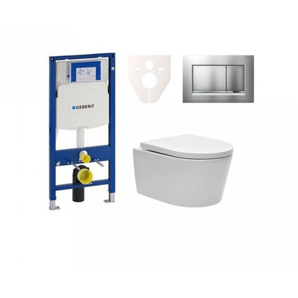Závěsný set WC SAT Brevis, nádržka Geberit Duofix, tlačítko CR mat SIKOGES3W7