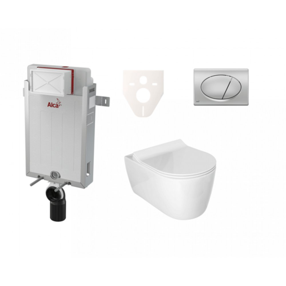 Závěsný set WC ALFA rim-ex, nádržka Alcaplast Renovmodul, tlačítko chrom mat SIKOAA3