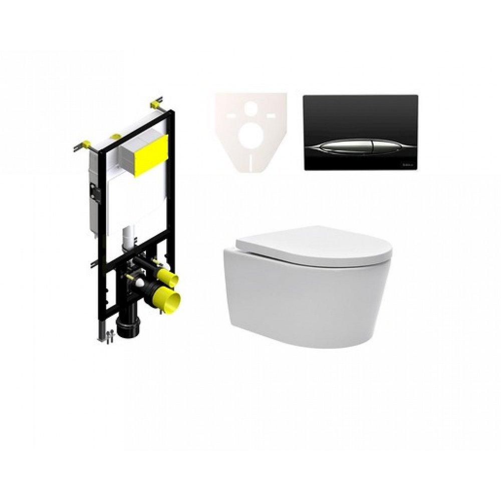 Závěsný set WC SAT Brevis, nádržka SIKO, tlačítko černé SIKOBSW3
