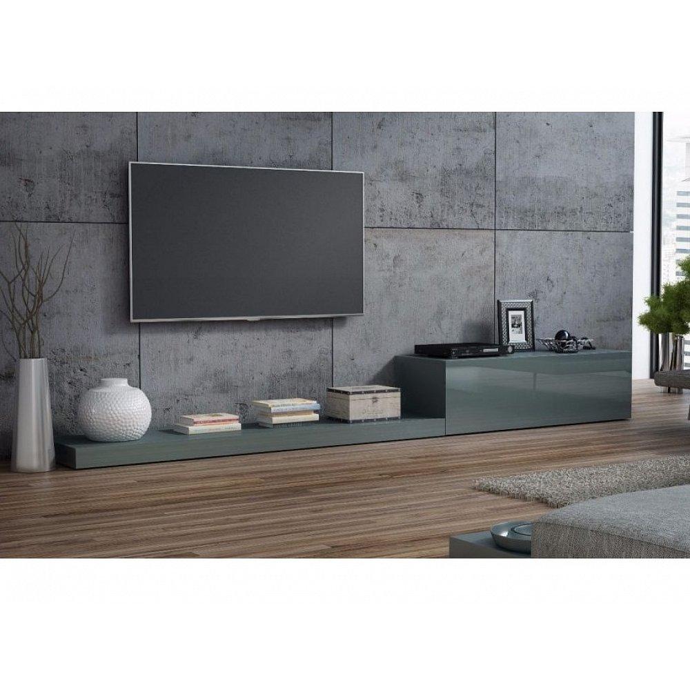 LIFE, televizní stolek RTV, šedá/šedý lesk