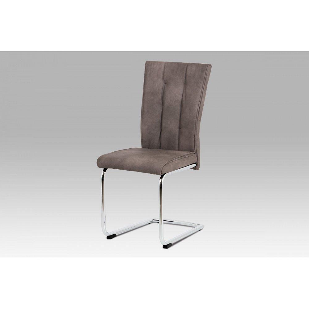 Jídelní židle DCH-192 BR, hnědá koženka/chrom