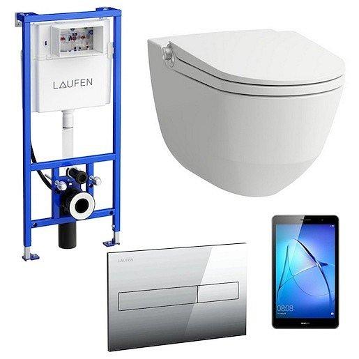 Akční balíček Laufen RIVA závěsné WC + podomítkový modul + WC tlačítko chrom lesk + tablet