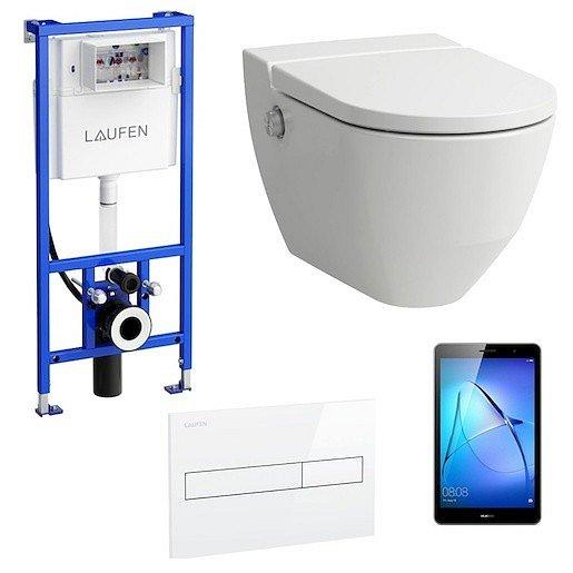 Akční balíček Laufen NAVIA závěsné WC + podomítkový modul + WC tlačítko bílé + tablet