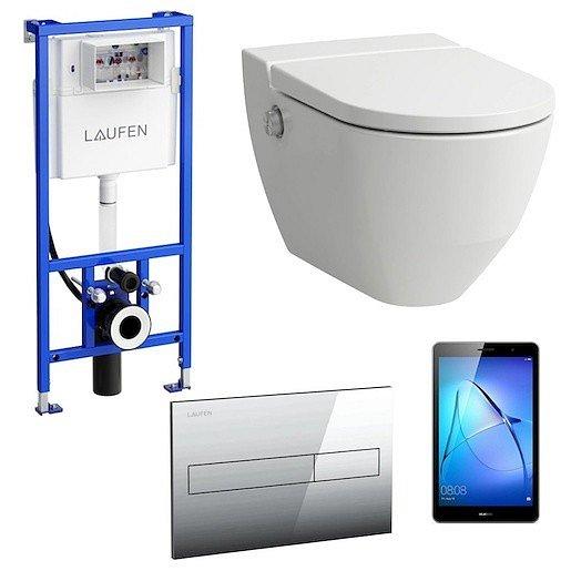 Akční balíček Laufen NAVIA závěsné WC + podomítkový modul + WC tlačítko chrom matné + tablet