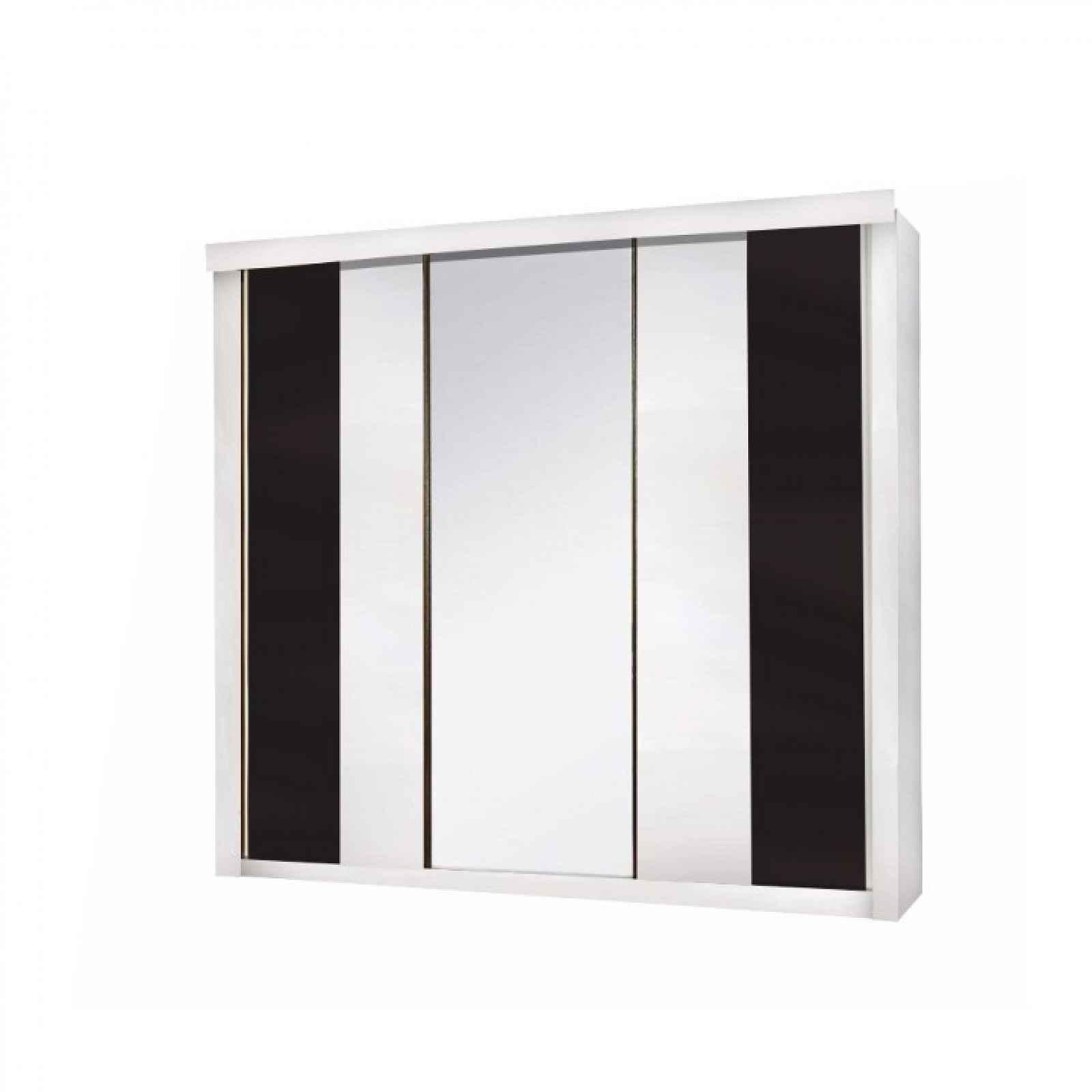 3-dveřová skříň, bílá / černá, RUBLIN 0000237379 Tempo Kondela