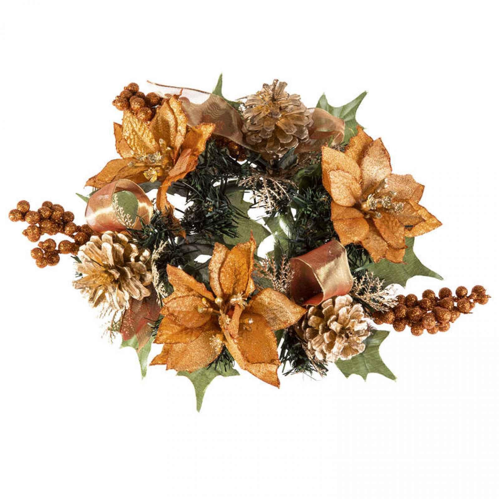 Umělý vánoční věneček měděný 20 cm