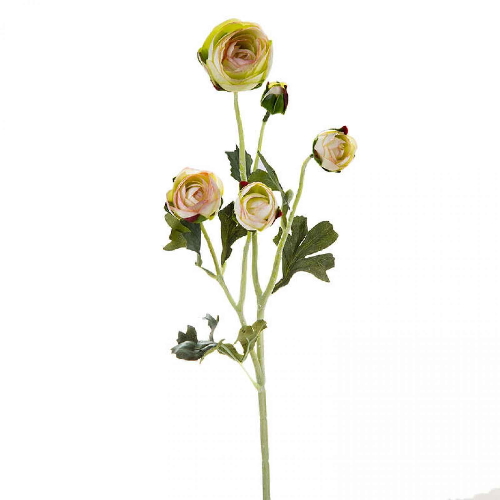 Umělý ranunkulus 5 květů, světle žlutá