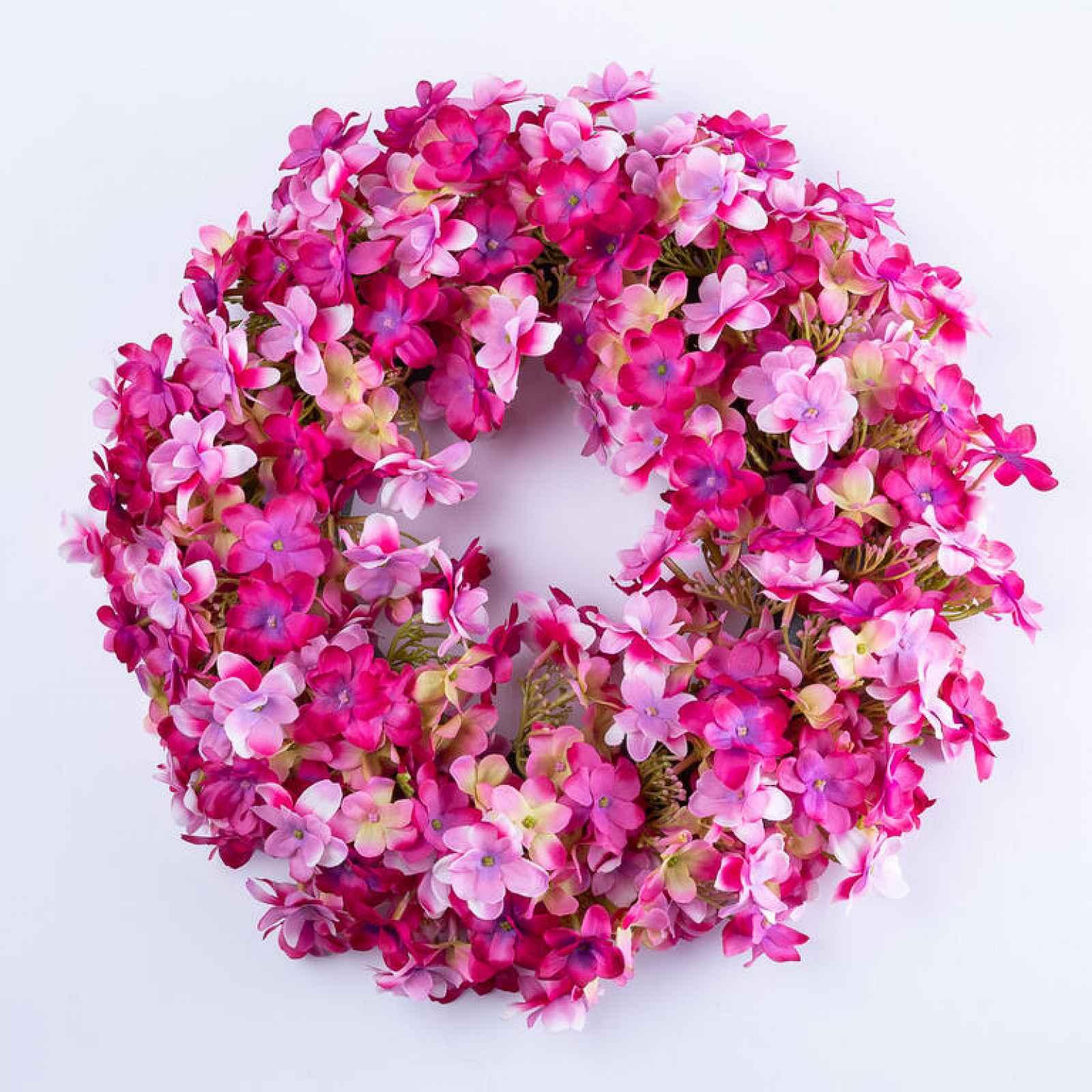Věnec HORTENZIE růžová 34 cm
