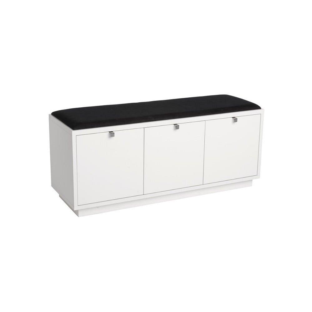 Bílá lavice s úložným prostorem a s černým sedákem Rowico Confetti, šířka 106cm