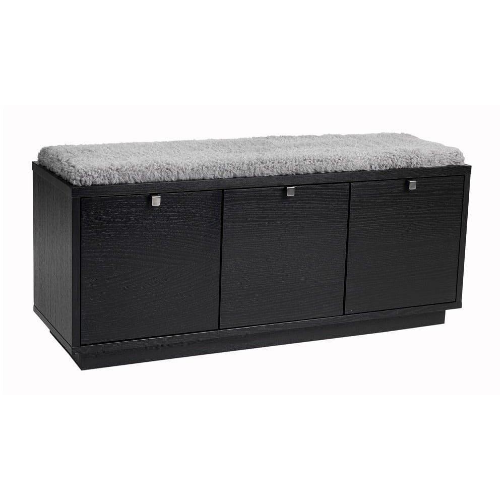 Černá lavice s úložným prostorem a s šedým sedákem Rowico Confetti, šířka 106cm