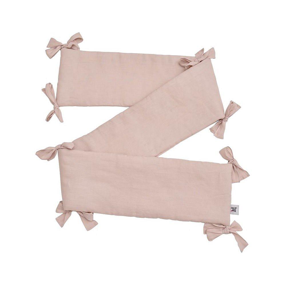 Růžový dětský lněný ochranný mantinel do postýlky BELLAMY Dusty Pink, 23,5x198cm