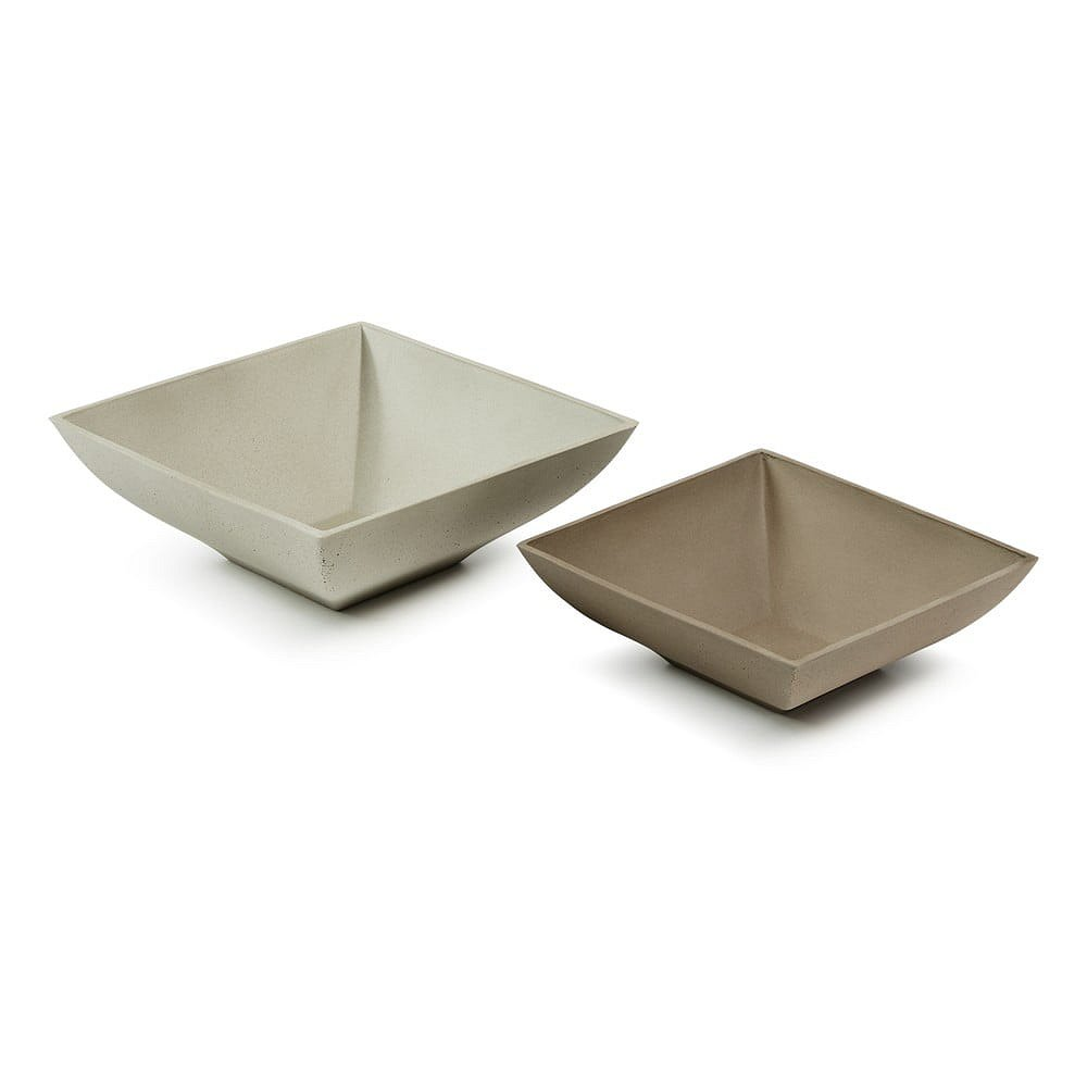 Sada 2 hnědo-šedých cementových misek La Forma Stefy