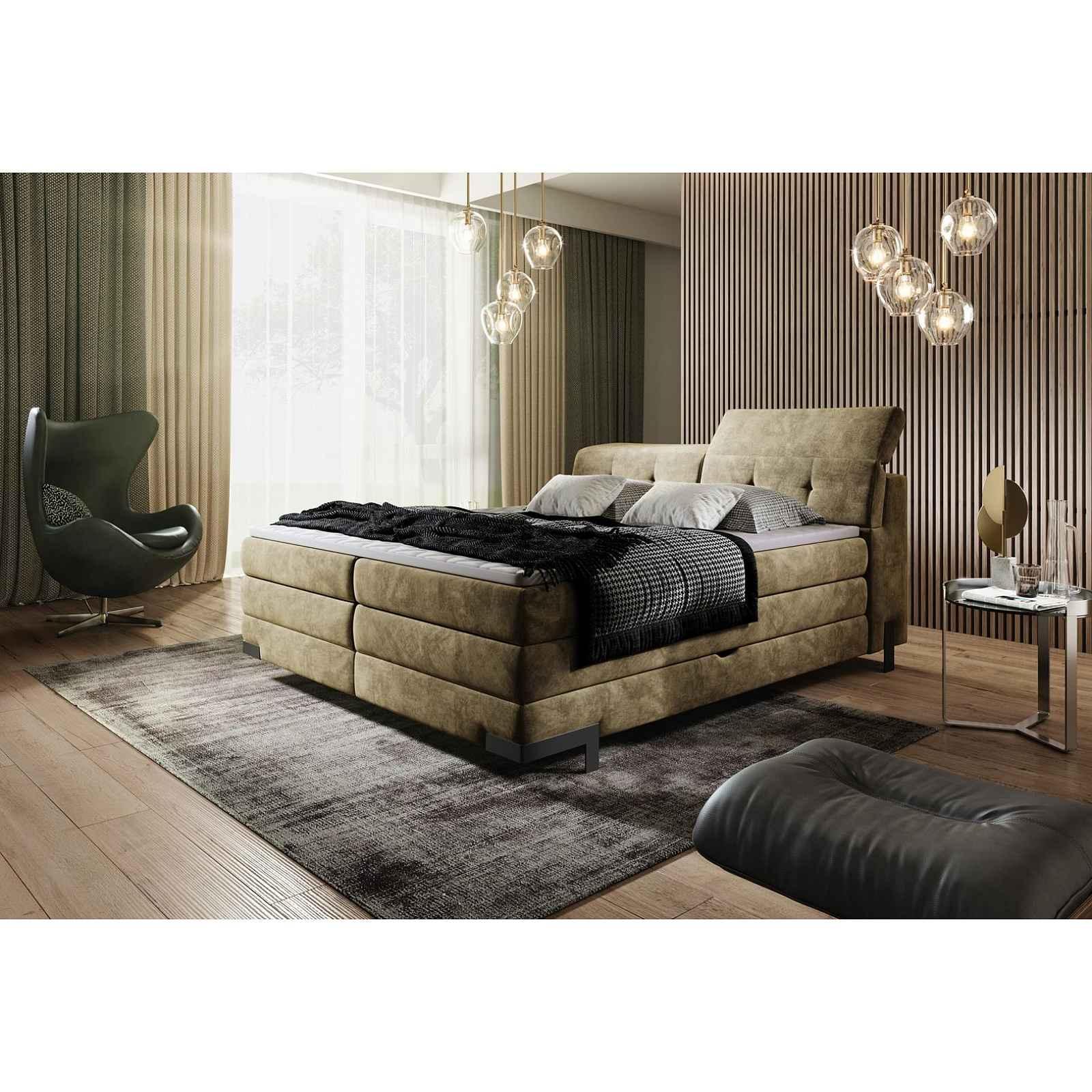 Luxusní box spring postel Massimo 180x200 s výběrem potahu!  WSL: Potah Žinilka Soro 21 krémová HELCEL