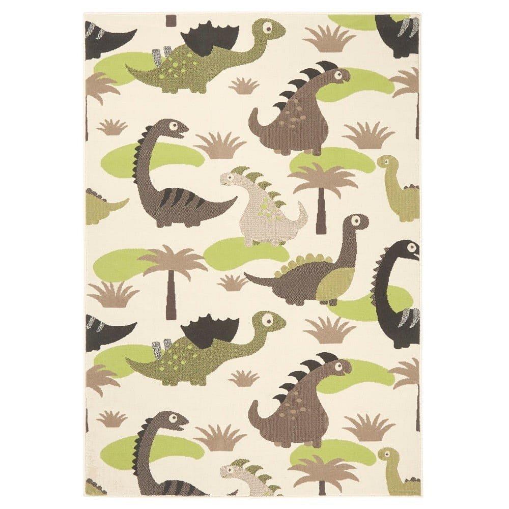 Dětský zelenohnědý koberec Zala Living Dino, 140x200cm