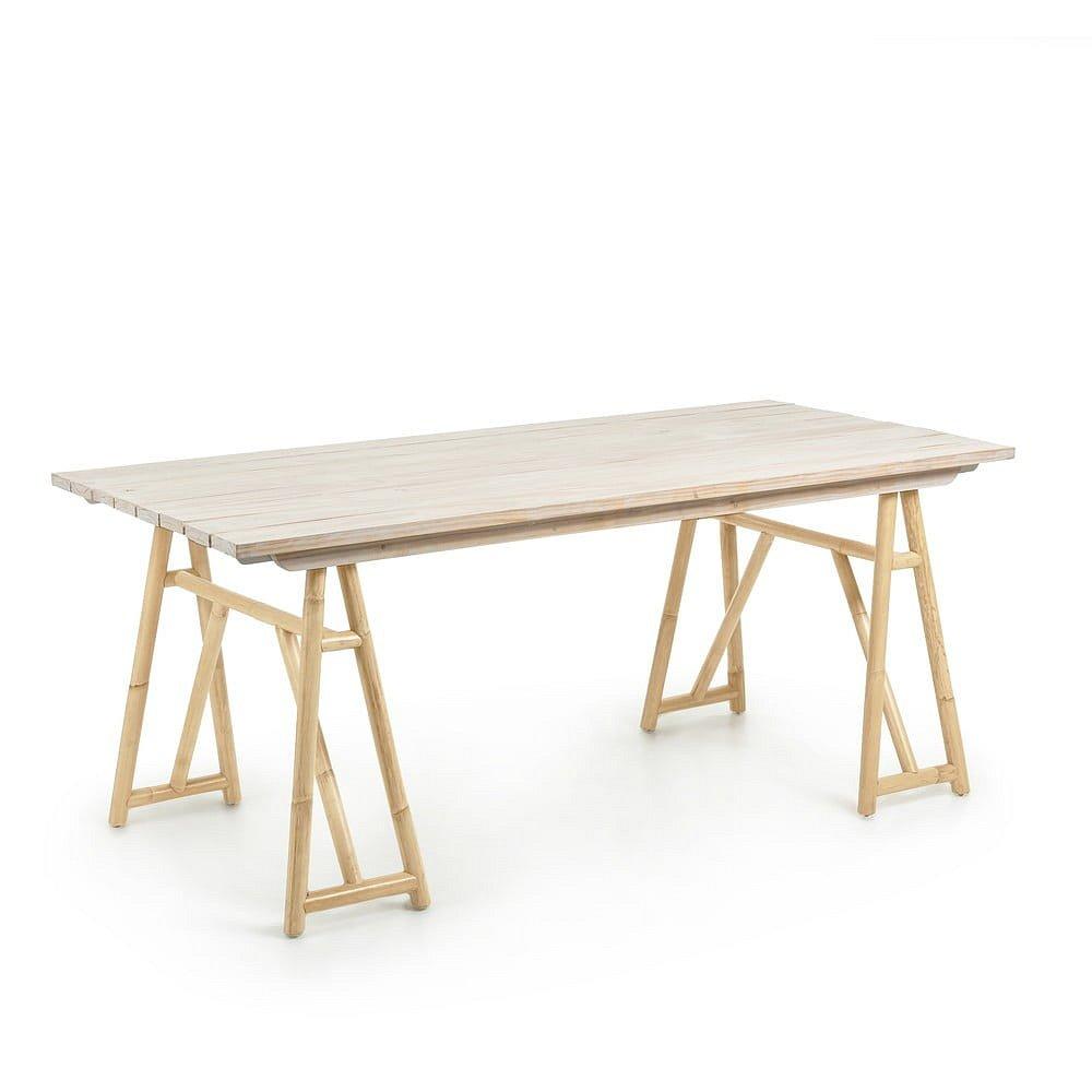 Stůl z přírodního ratanu La Forma Creassy, 180 x 85 cm