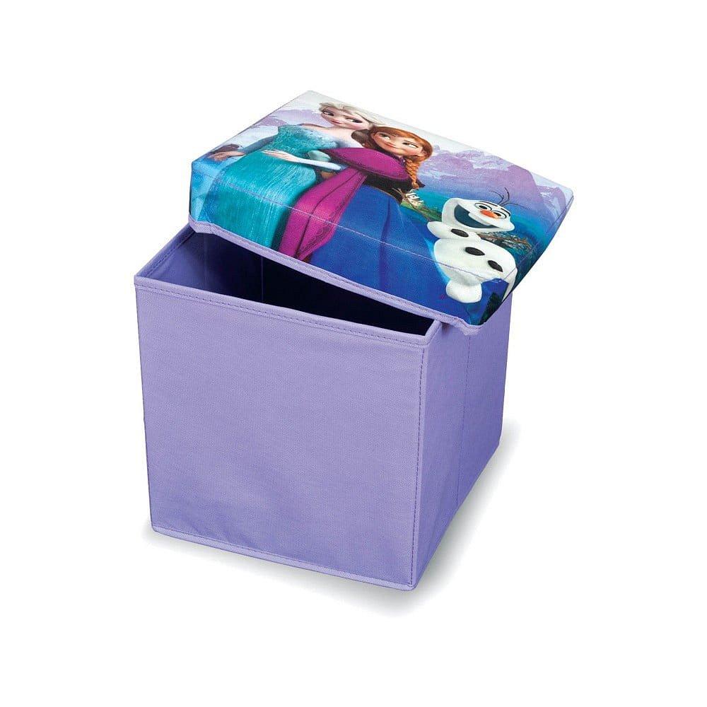 Fialová úložná taburetka na hračky Domopak Frozen, délka30cm