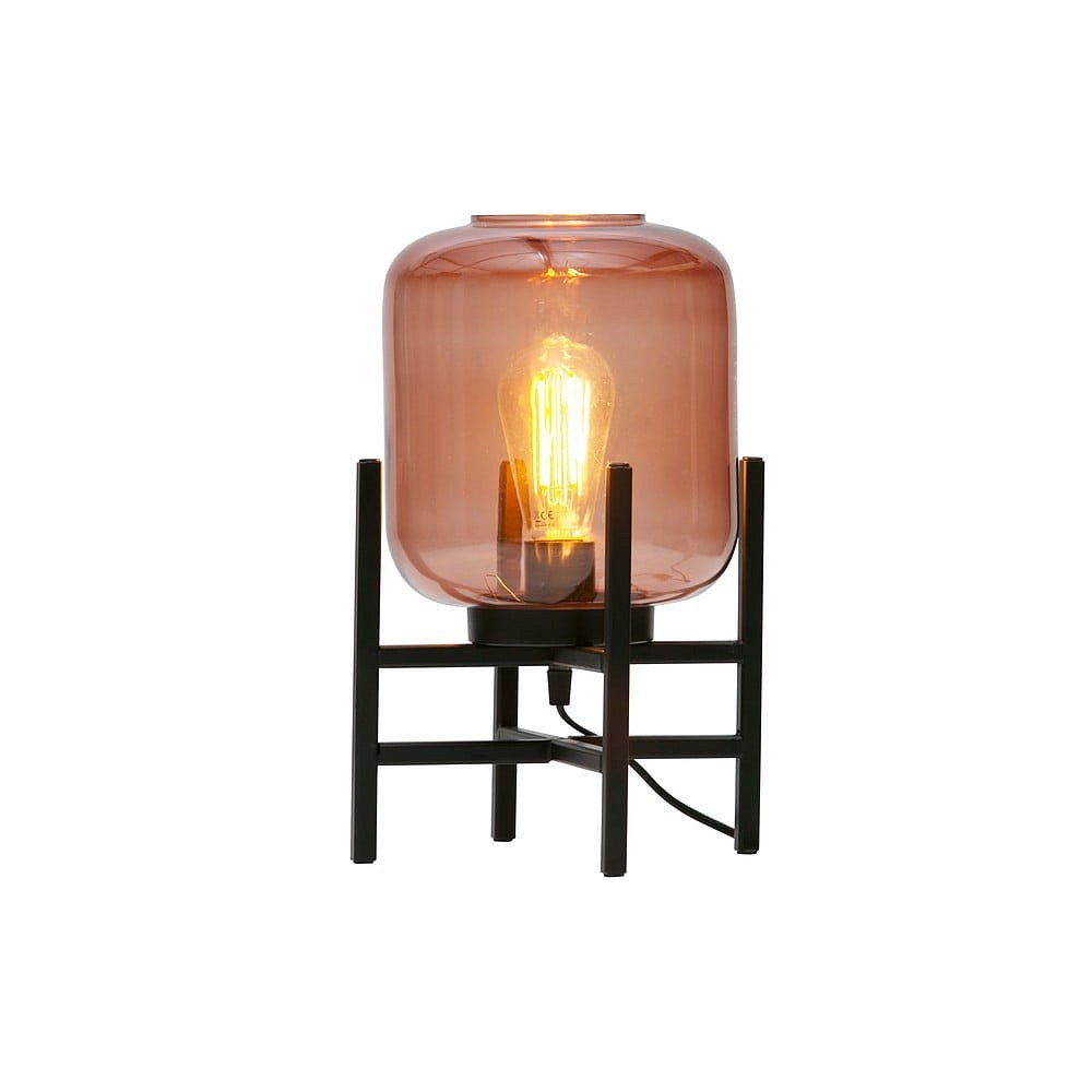 Růžovo-černá stolní lampa se skleněným stínidlem WOOOD Abel