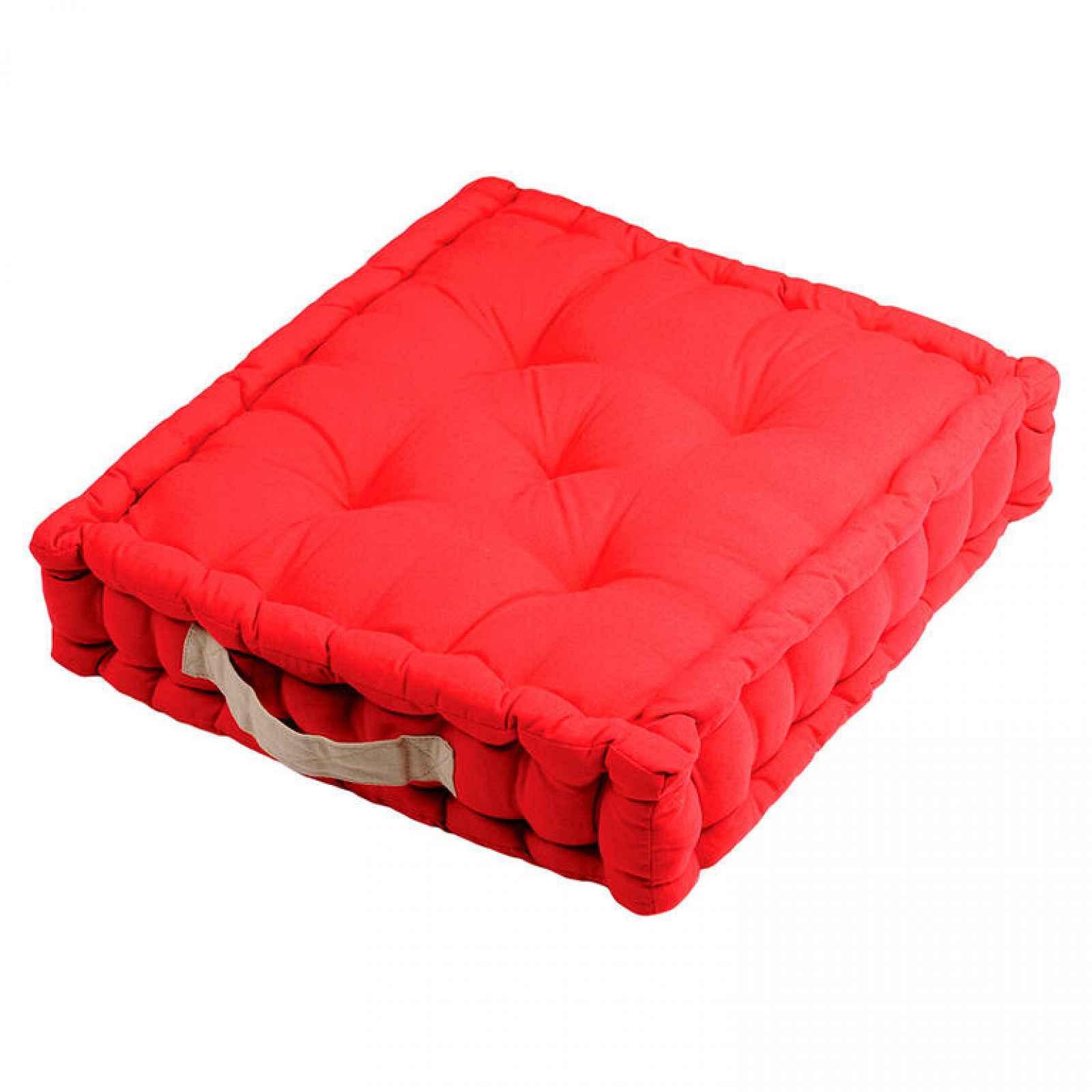Sedací polštář na zem DUO UNI červená sada 4 ks