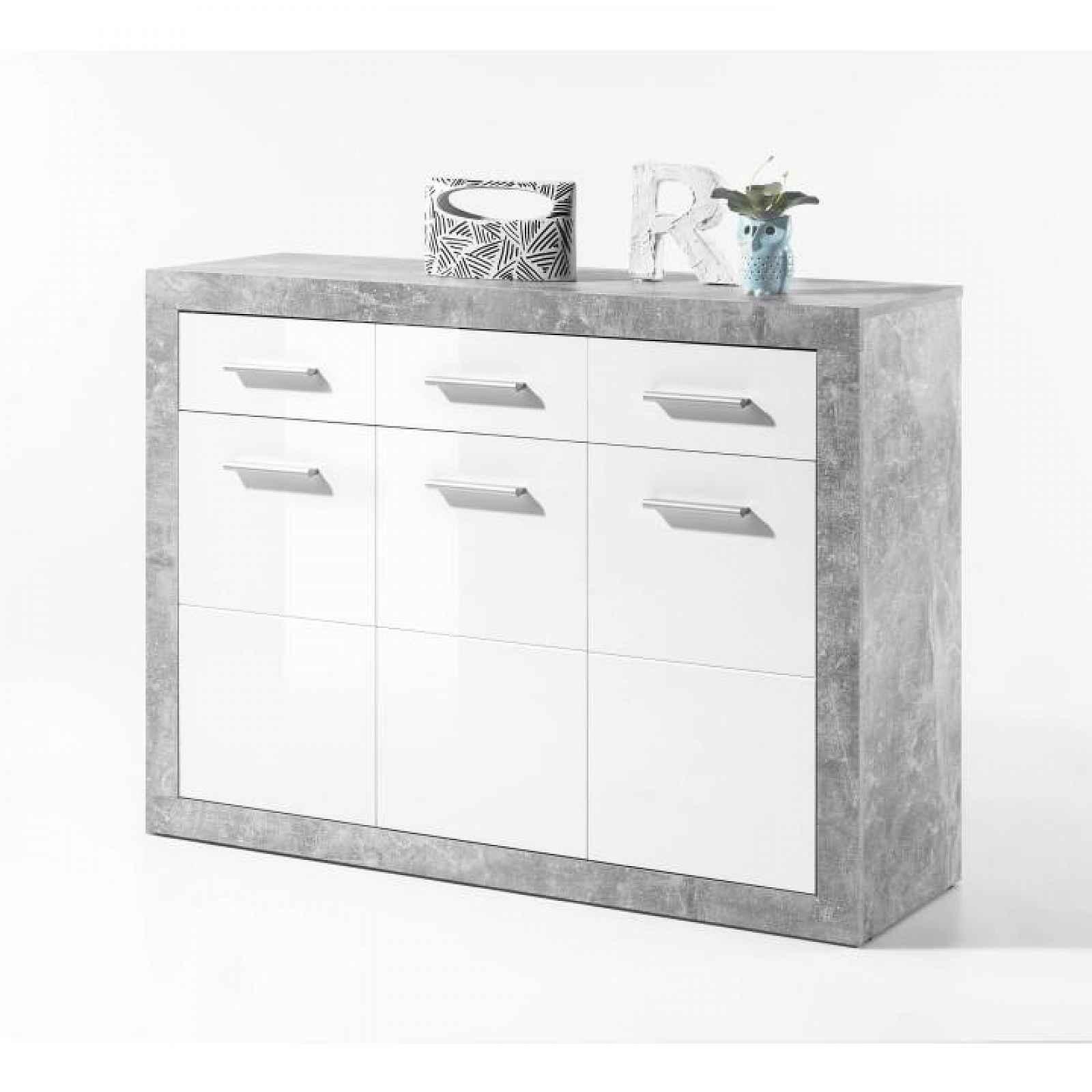 Komoda, bílý lesk/šedý beton, SLONE 2 0000187096 Tempo Kondela