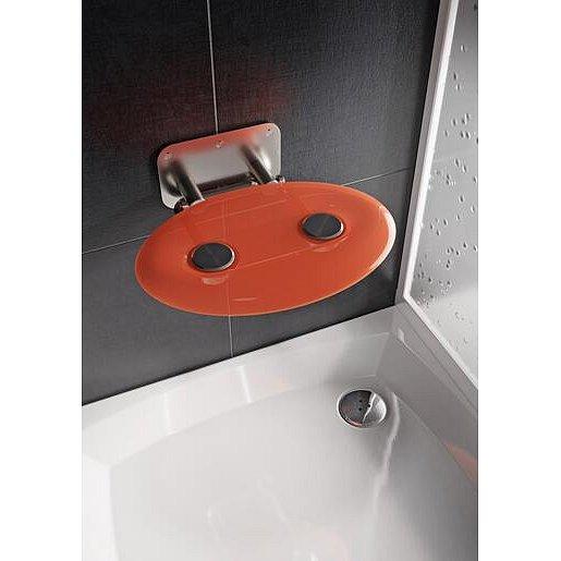 Sprchové sedátko Ravak OVO P sklopné š. 41 cm oranžová B8F0000050
