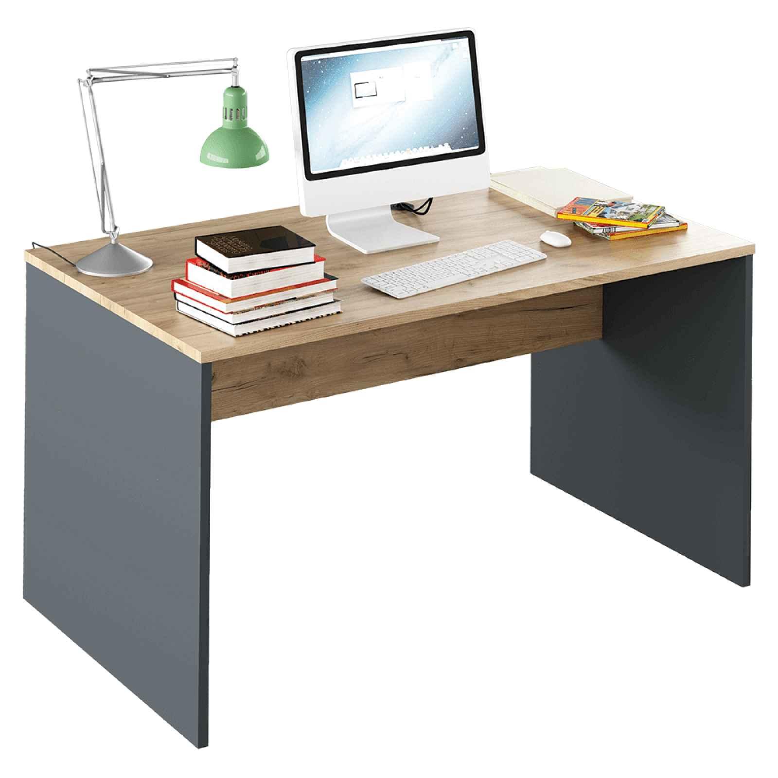 PC stůl, grafit / bílá, Rioma TYP 11 0000185732 Tempo Kondela Grafit / dub artisan