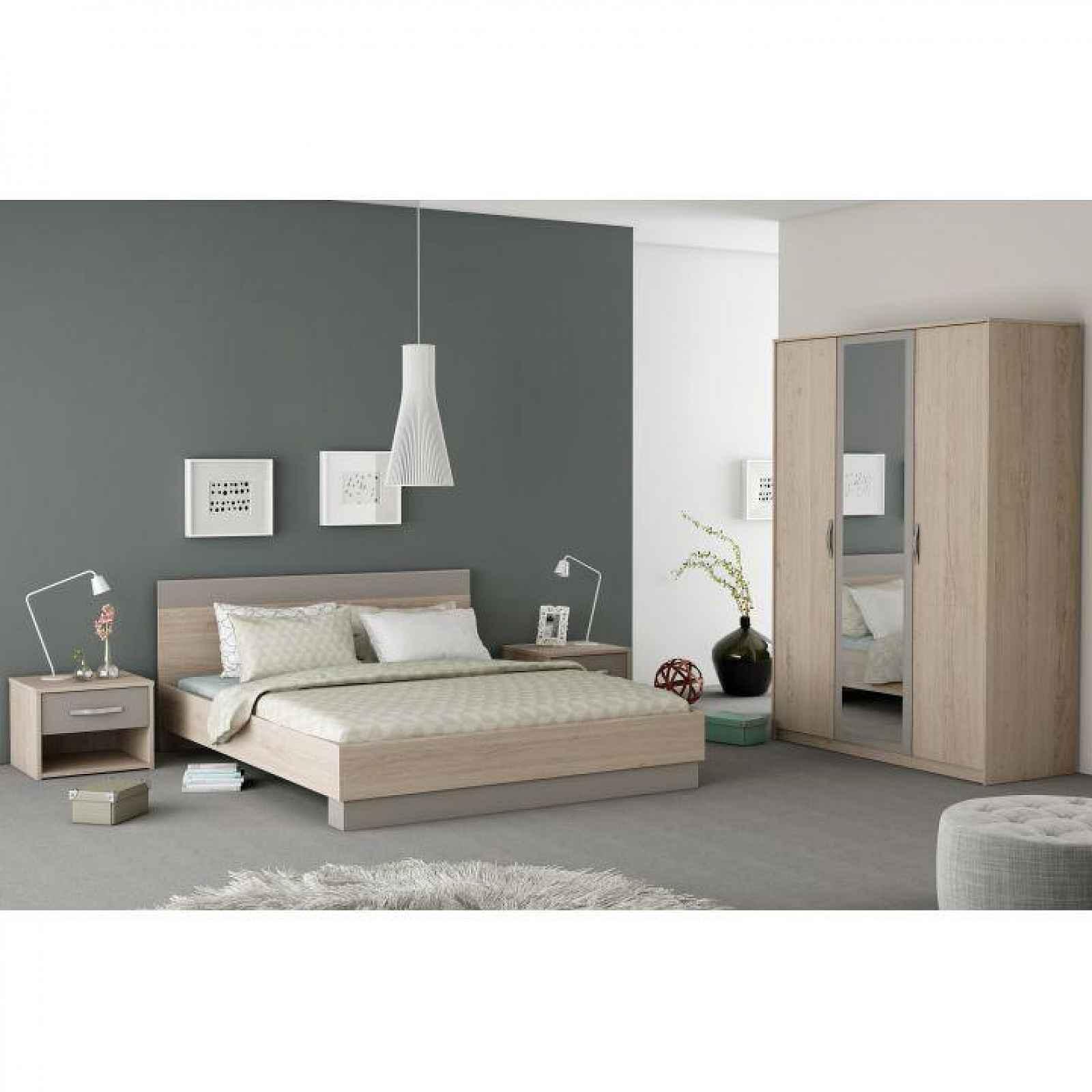 Ložnicový komplet (skříň + postel + 2x noční stolek), dub arizona / šedá, GRAPHIC 0000186746 Tempo Kondela
