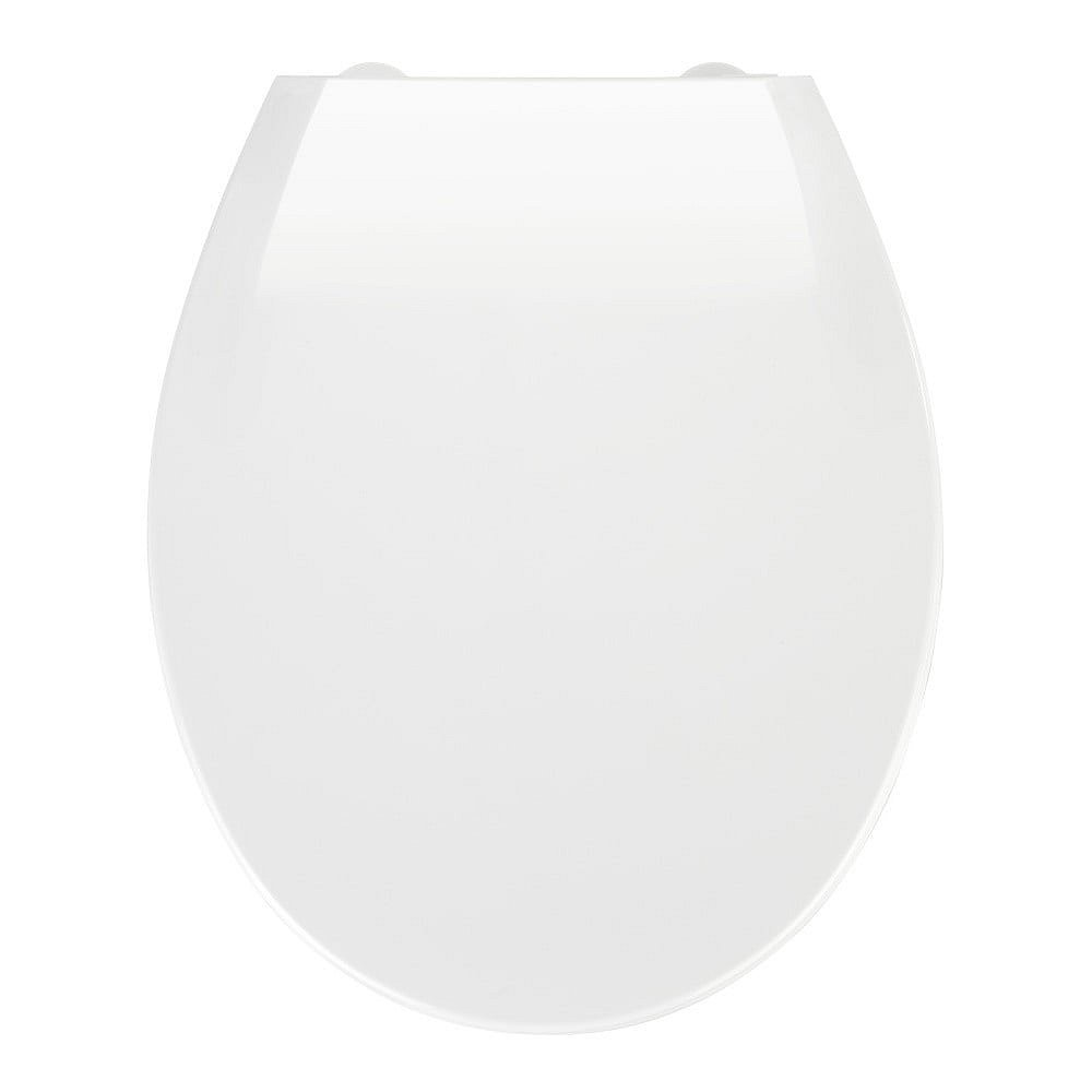 Bílé WC sedátko se snadným zavíráním Wenko Kos, 44 x 37 cm