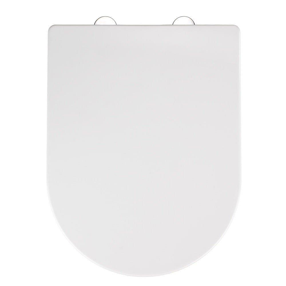 Bílé WC sedátko se snadným zavíráním Wenko Calla, 47 x 35,5 cm