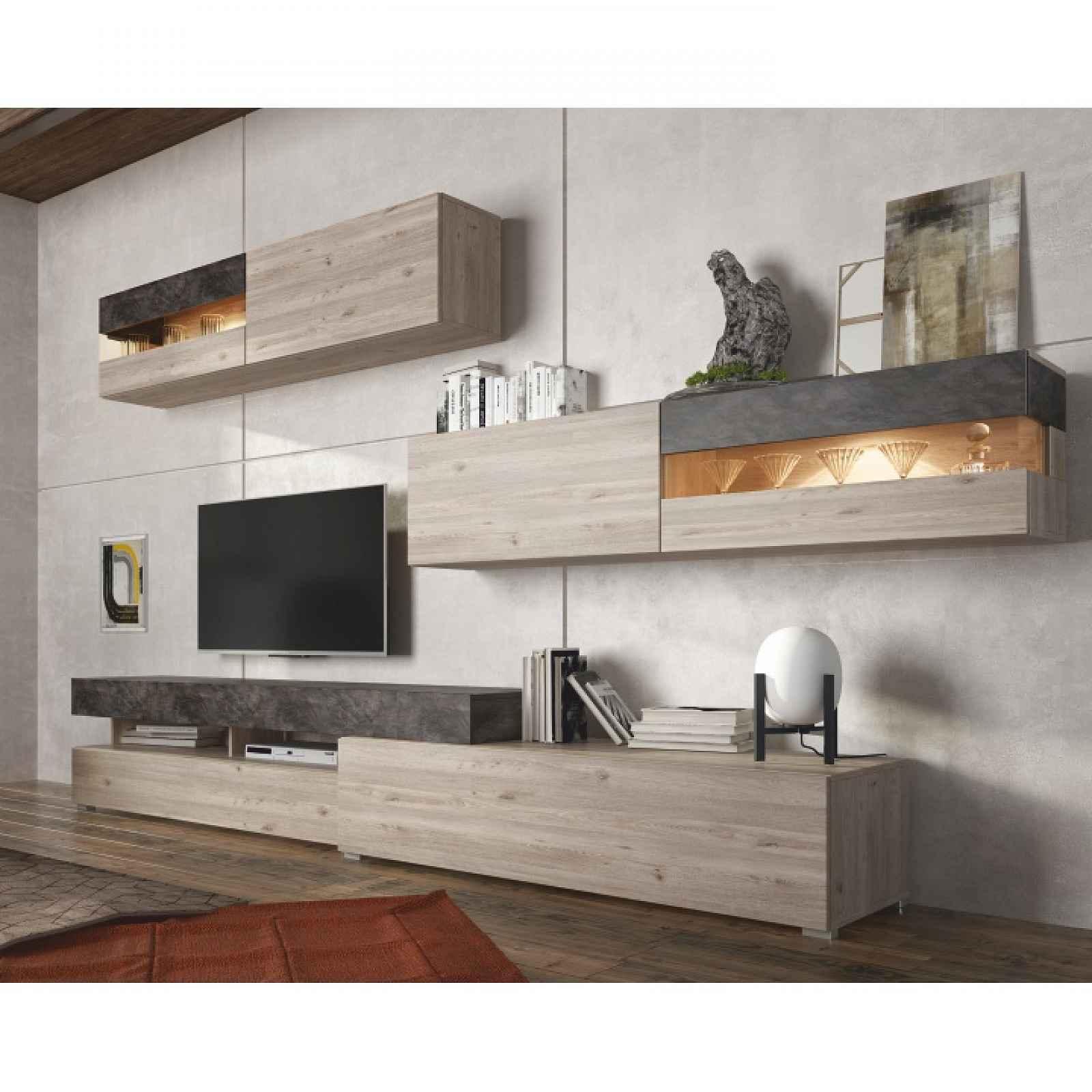 Obývací stěna IOVA dub nelson / beton Tempo Kondela