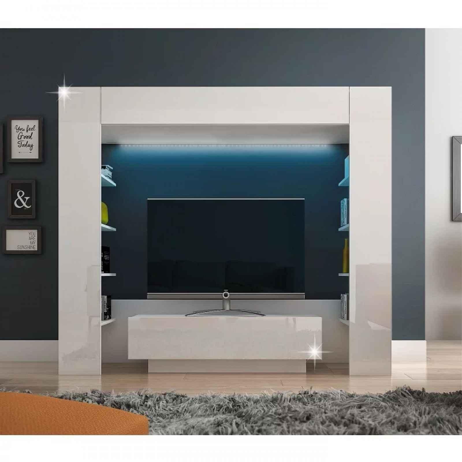 Luxusní TV a media stěna, bílá/bílá extra vysoký lesk, MONTEREJ 0000186841 Tempo Kondela