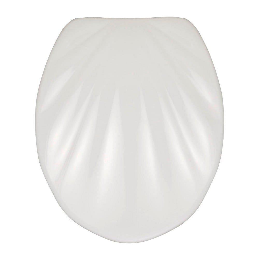 Bílé WC sedátko se snadným zavíráním Wenko Premium Sea Shell, 45,5 x 38 cm