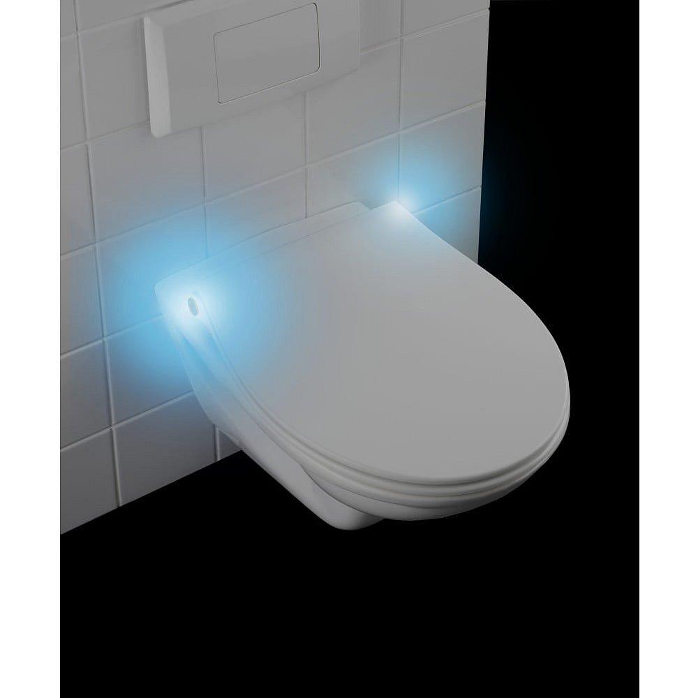 Bílé WC sedátko S LED světly a snadným zavíráním Wenko Gubbio, 44 x 36,8 cm