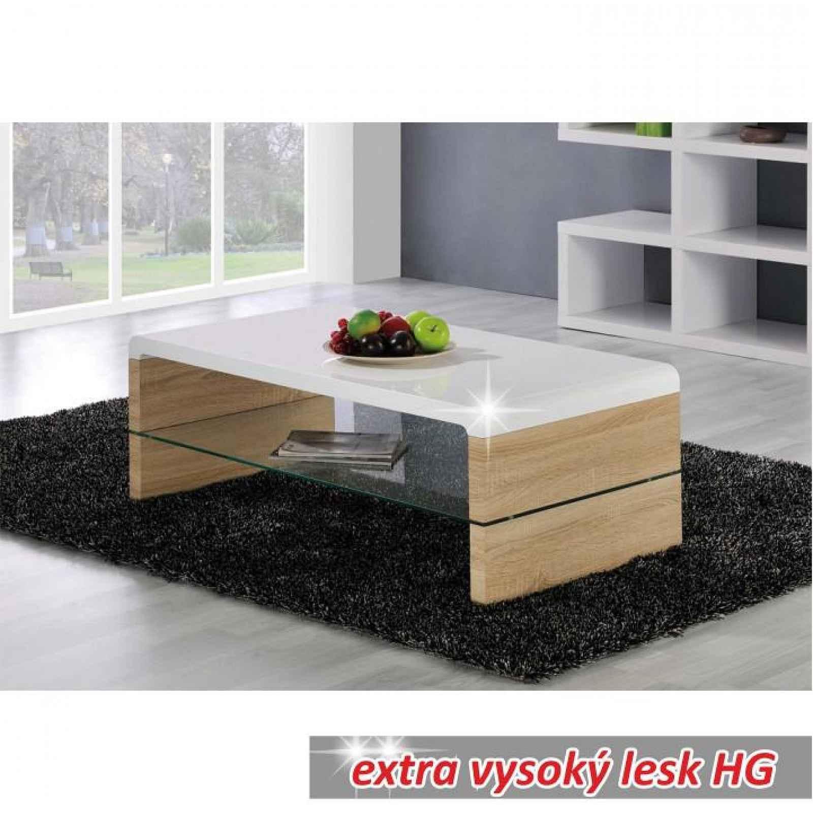 Konferenční stolek, dub sonoma / bílá extra vysoký lesk HG, KONTEX 2 NEW 0000188124 Tempo Kondela