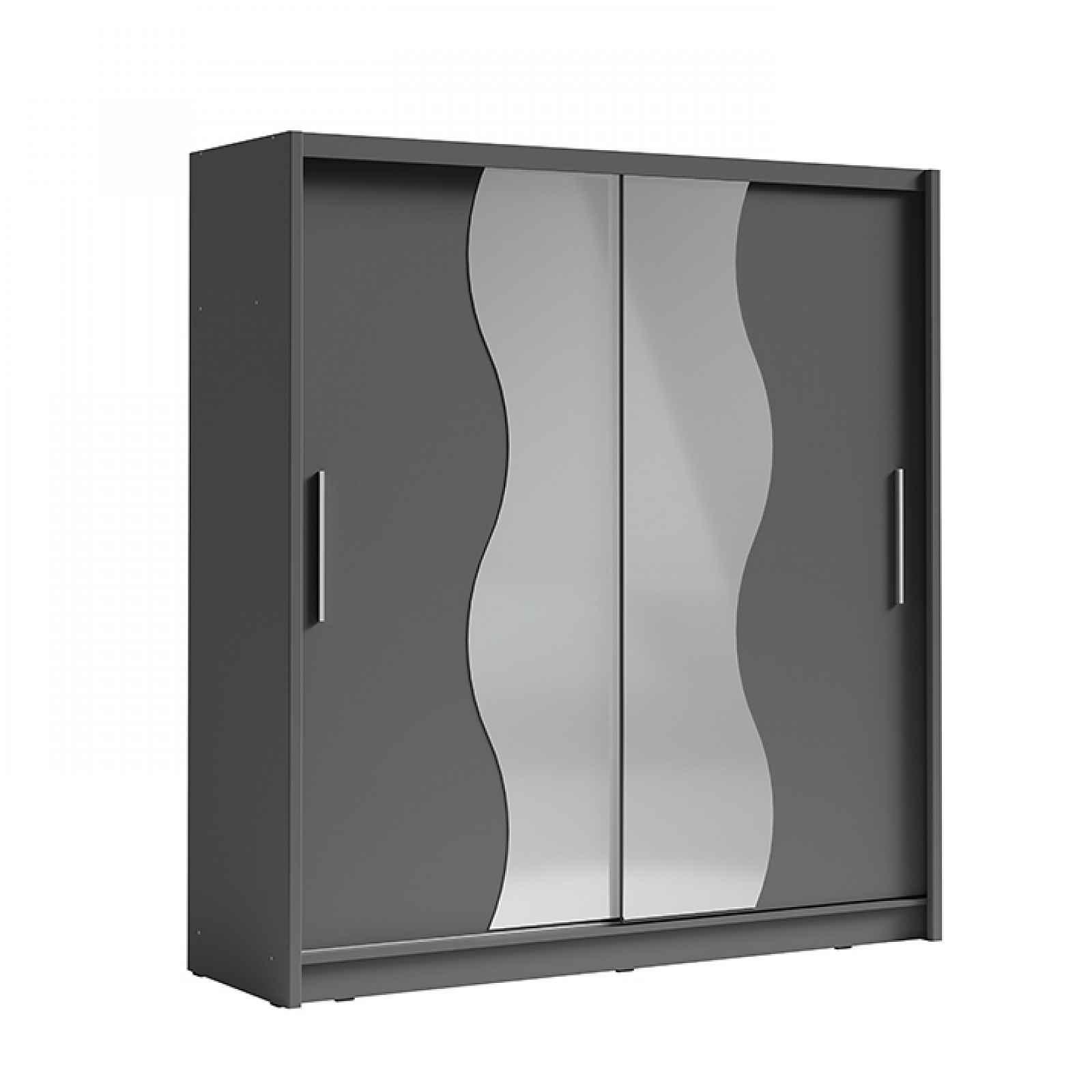 Skriňa s posúvacími dverami, tmavosivá grafit, BIRGAMO TYP 1 0000237488 Tempo Kondela