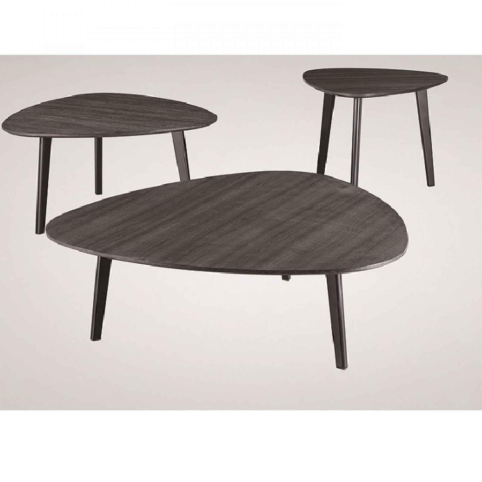 Sada 3 konferenčních stolků LADON šedé dřevo/ kov Tempo Kondela