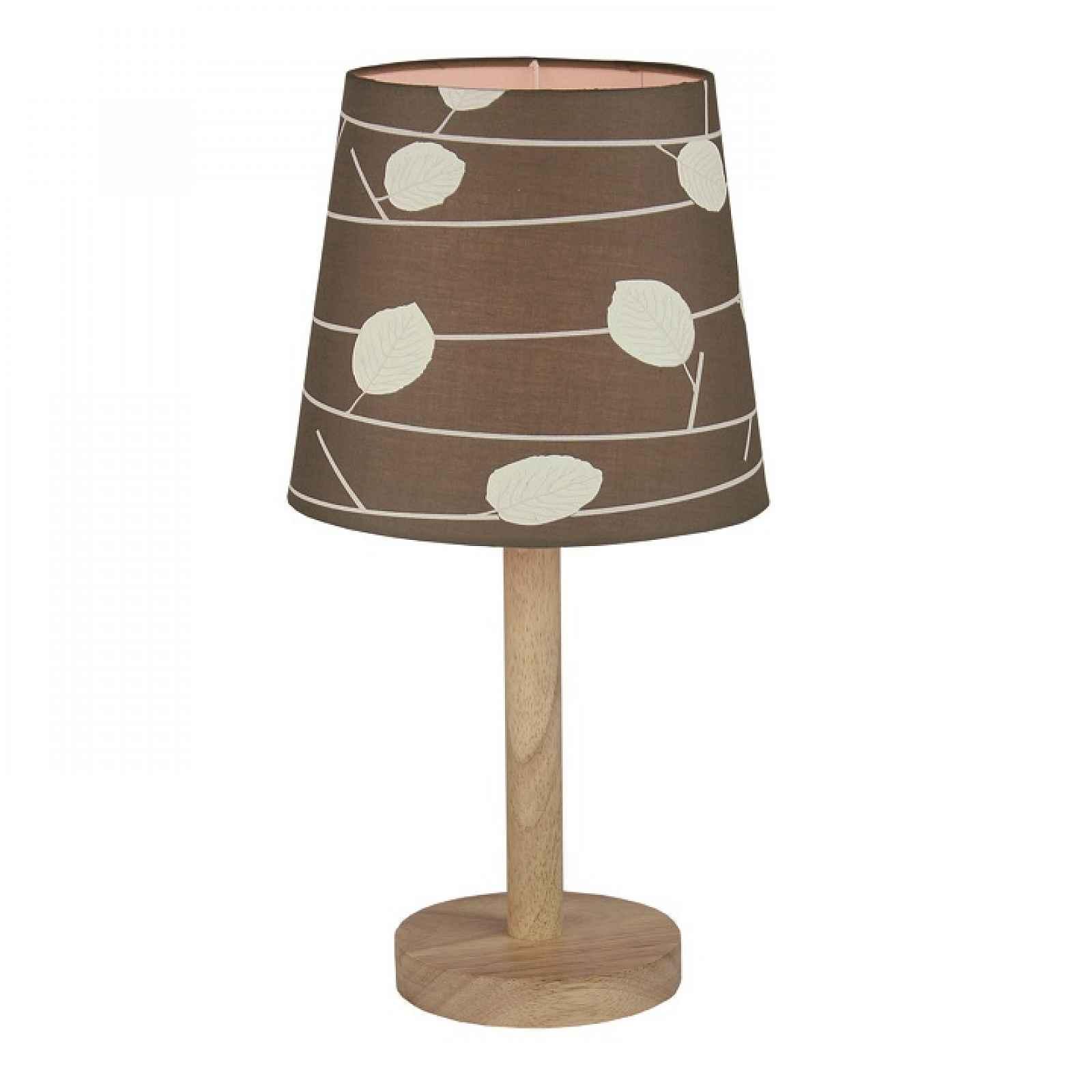Stolní lampa, dřevo / látka vzor listy, QENNY TYP 6 0000190746 Tempo Kondela