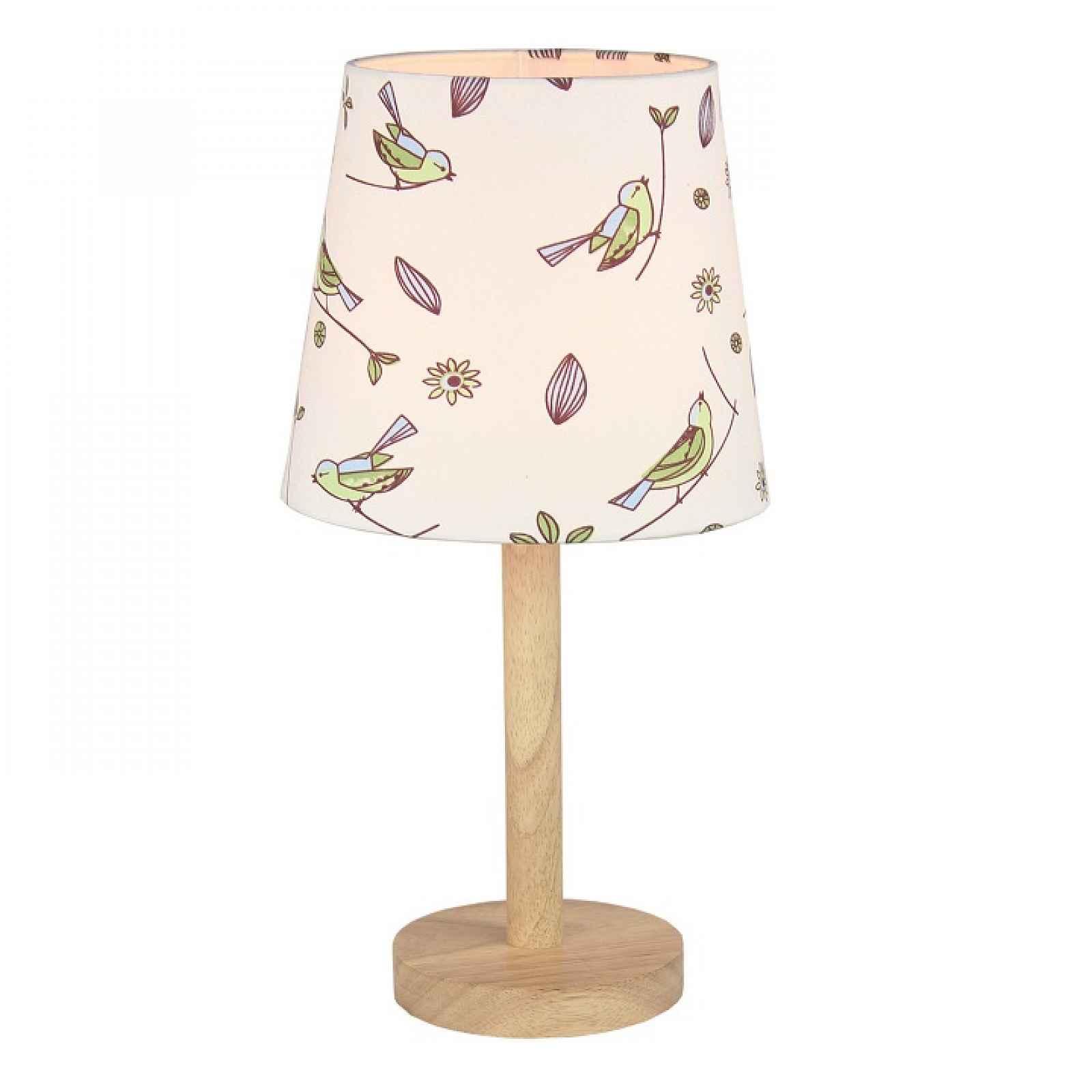Stolní lampa, dřevo / látka vzor ptáci, QENNY TYP 7 0000190747 Tempo Kondela