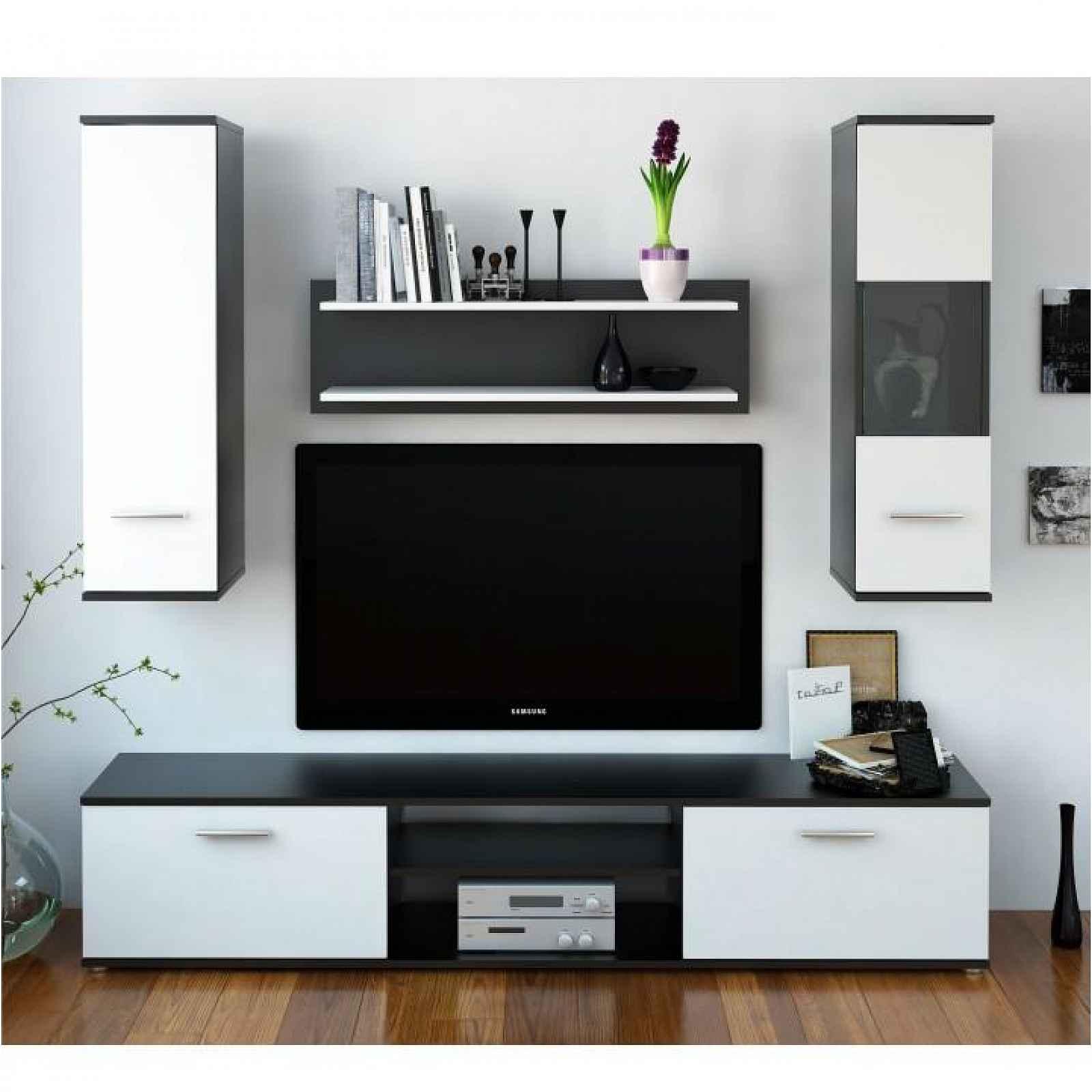 Obývací stěna, černá / bílá, WAW 0000190432 Tempo Kondela