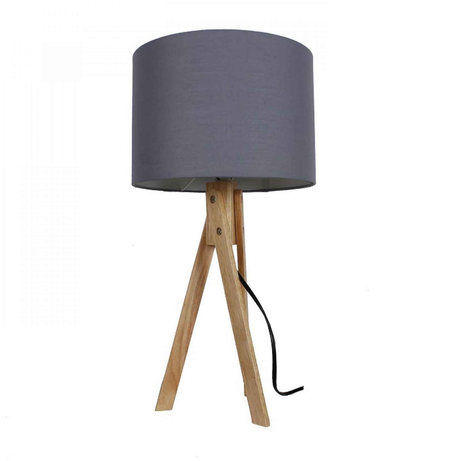 Stolní lampa, šedá / přírodní dřevo, LILA TYP 2 0000190669 Tempo Kondela